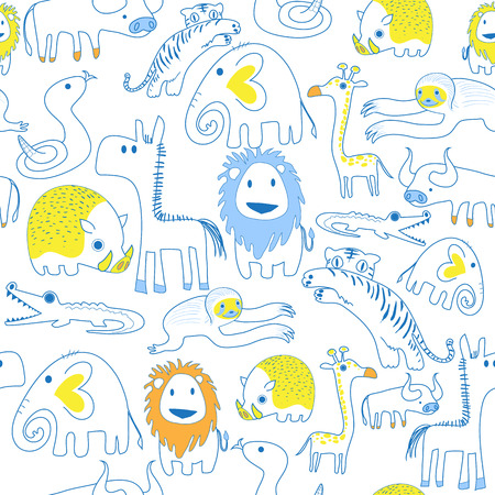 Seamless pattern of safari animals in soft color style use as background, wallpaper, card and wrap paper