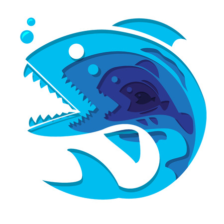 smaller fish inside bigger fish graphic art in paper cut style , business concept illustration