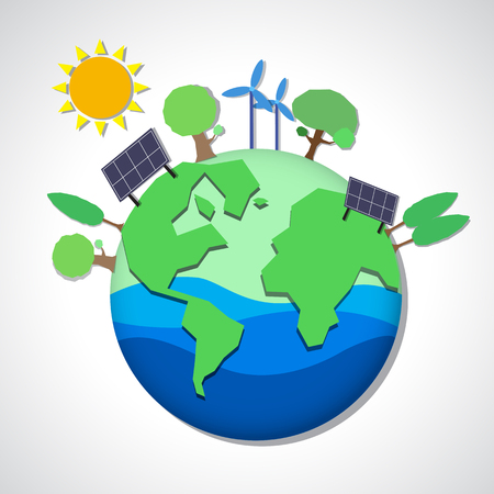 Graphic art of  ecology clean energy earth  in paper cut style , ecology concept illustration Stock Photo