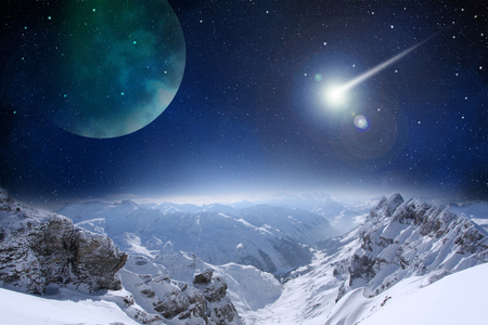 scene of mountain rock under space night sky with cloud and star, abstract background Stock Photo