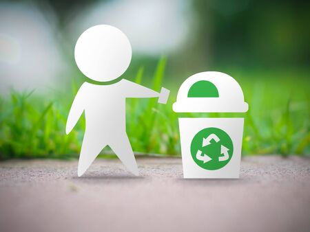 recycle bin symbol on blur background, ecology and environment concept, photographic mixed with illustration