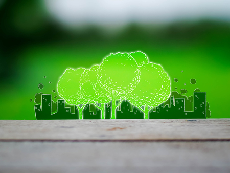 images drawing of trees with pollution city background, environment concept, illustration mixed with photography style Stock Photo