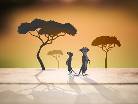 meerkats and trees in safari, animal save life concept, illustration mixed with photography style Stock Photo