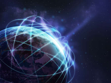 Global network over the world in soft green color tone ,some elements of this image furnished by NASA Stock Photo
