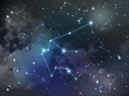 Zodiac star,Aquarius constellation, on night sky with cloud and stars Reklamní fotografie