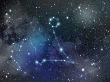 Zodiac star,Pisces constellation, on night sky with cloud and stars