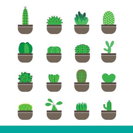 Icon set of cactus in pot,simple color art graphic style Reklamní fotografie