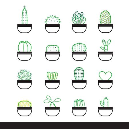 Icon set of cactus in pot,simple line art graphic style