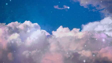 Blue sky with stars and cloud in fantasy mode