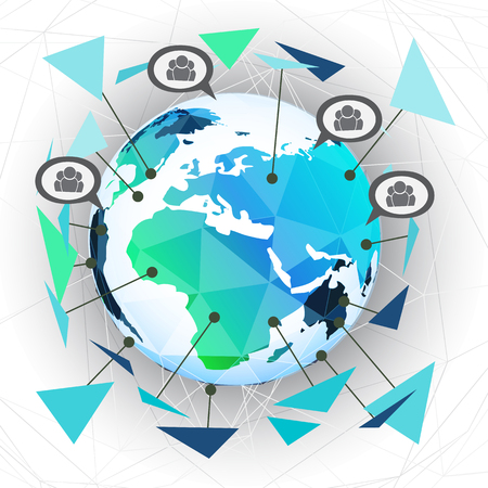 Global network background for technology and business concept, Vector image. Ilustrace