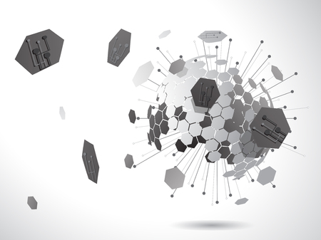 Hexagon global with connection symbol use for techonology and business concept, vector background