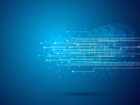 Graphic of line electronic connection network on dark blue background use as business and technology concept, vector background