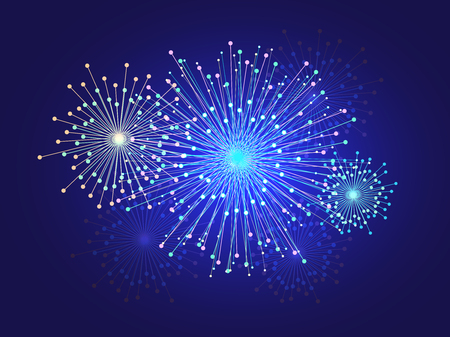 Graphic image of light radius sparkle fireworks on dark background use as element abstract background, vector art Ilustrace