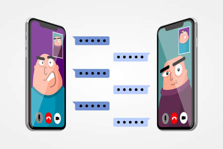Boss and employee video conference vector illustration. Work from home as isolated