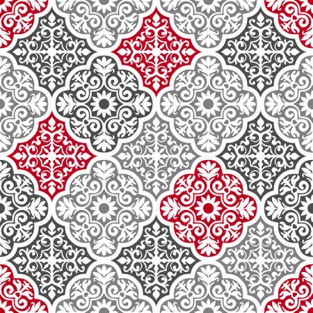 Seamless Abstract Floral Carpet Texture, Vector Textile Pattern, Ethnic Exotic Oriental Ornament
