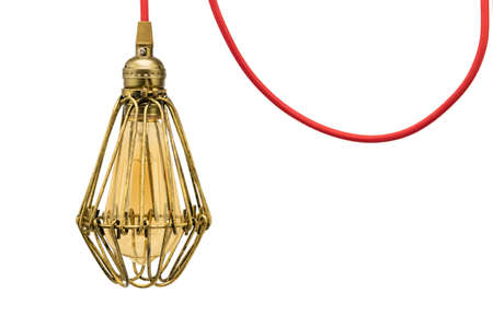Decorative red wired pendant lamp with a brass metal protective cage on isolated white background