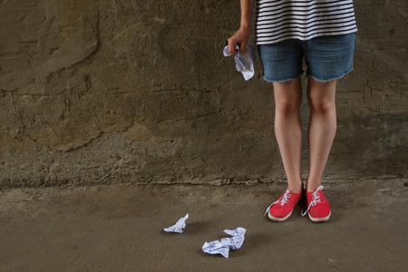 dishonesty: Cheat sheet. Crib sheet. Crumpled paper Stock Photo