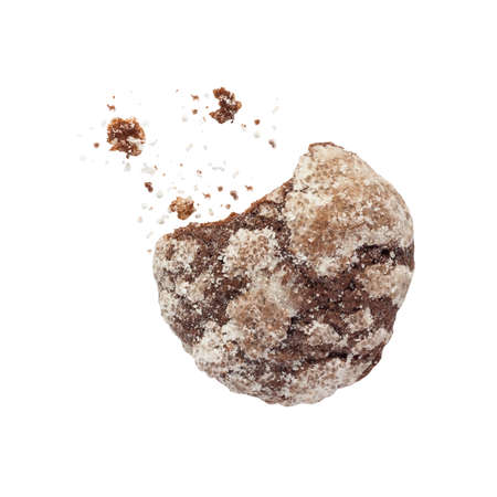 bickie: Broken chocolate chip cookie with chocolate and sugar crumbs isolated on a white background
