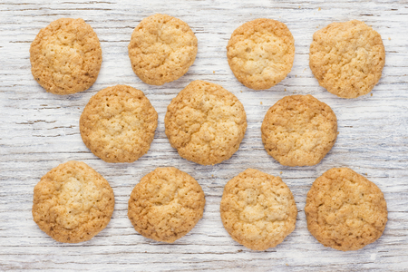 Oatmeal cookies on a light wooden background Stock Photo