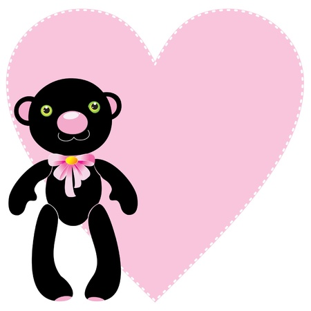 Black bear toy with a pink heart: vector illustration Vector