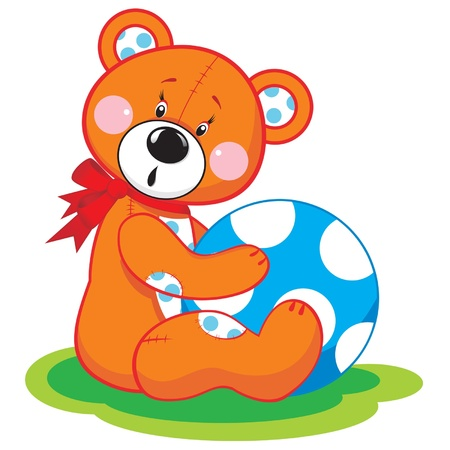 Cute bear toy with a blue ball: vector isolated illustration