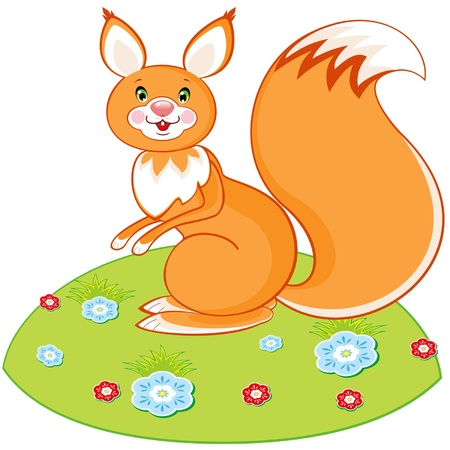 Vector red squirrel toy on a green glade with a flowers