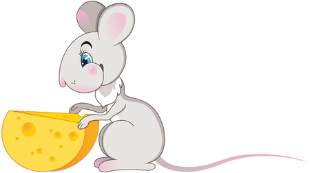 hungry kid: mouse with cheese. vector isolated illustration Illustration