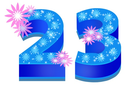 20: Cifras azules sobre un fondo blanco
