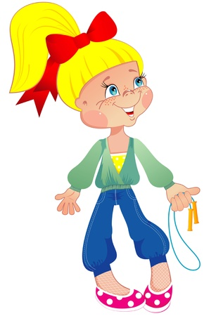 rope vector: Girl with a skipping rope: vector illustration