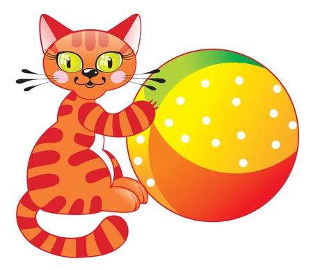 Chat mignon avec un ballon. Version Raster. Illustration