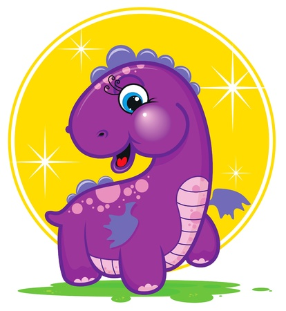 Cute purple dragon Stock Vector - 12485286