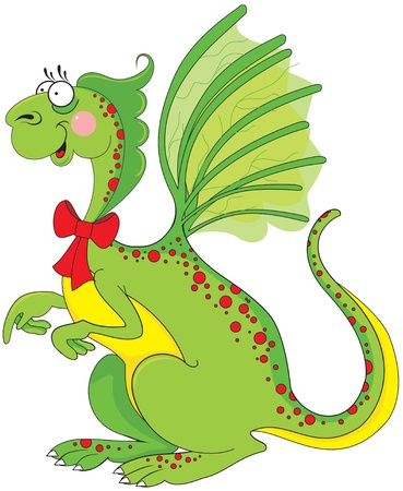 Cute green dragon  Vector
