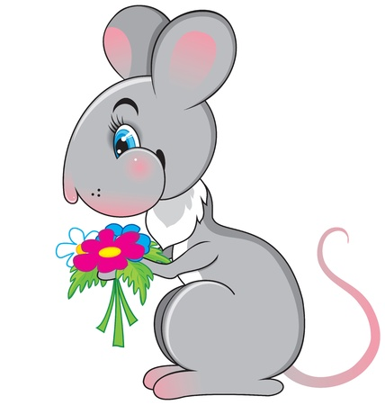 Rat with a flowers: cute vector illustration.  Vector