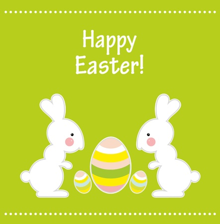 Easter card with two rabbits  Stock Vector - 12485281