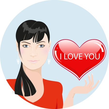 Beautiful girl with heart. Valentine day illustration  Vector
