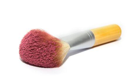 pink powder: Make up brush with pink powder isolated on white background