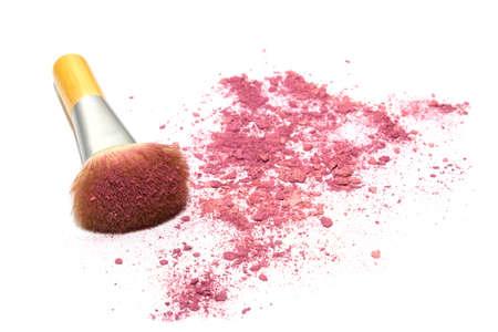 make up brush: Make up brush with pink powder isolated on white background