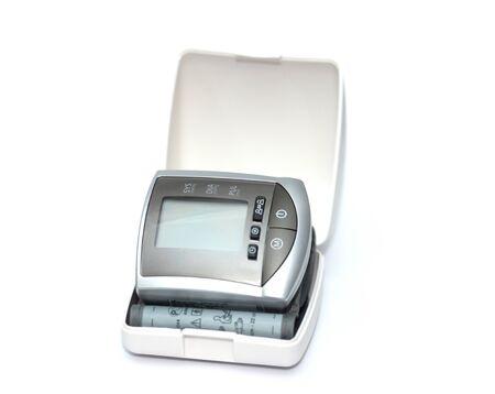 presure: tonometer for measuring blood pressure on  white background Stock Photo