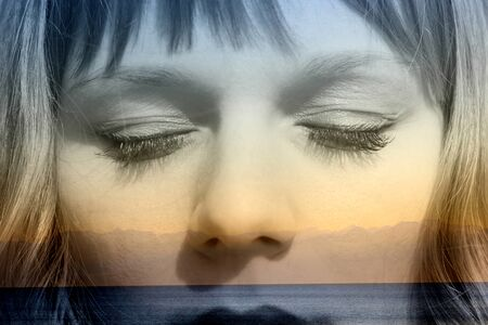 mountainscape: Double exposure of girl with closed eyes and seaside relaxation mountainscape