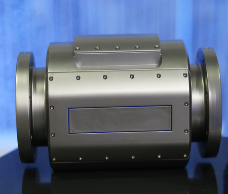 ultrasonic: Ultrasonic stainless steel gas meter on blue background Stock Photo