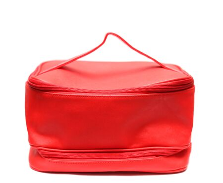 leasure: Red leasure make up bag isolated on white background