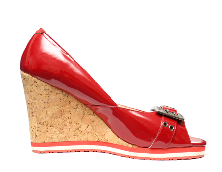 opentoe: Red dress leather women shoe with high hills isolated over white background Stock Photo