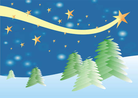 Winter scene with christmas trees and waving star Illustration
