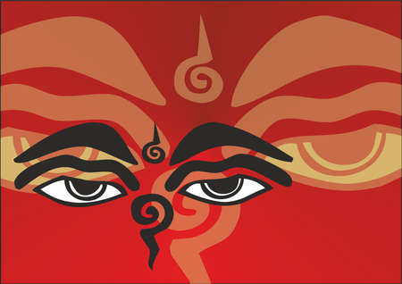 drawing of the eyes of buddha