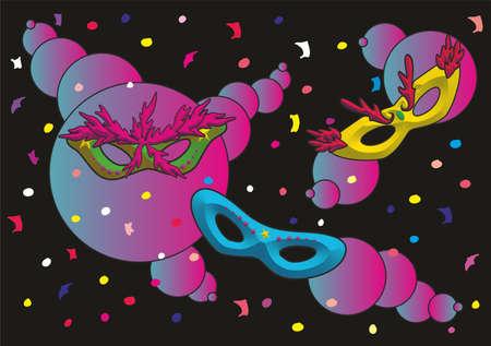 three colourful Carnaval masks against black background Ilustrace