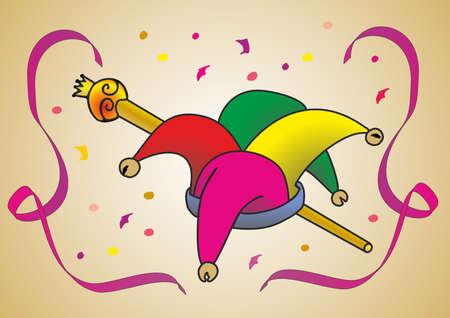 sombrero de bufón colorido con cetro Ilustración de vector