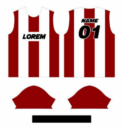Soccer & Football Sport Jersey T-Shirt Design in Ready to use Round Neck Short Sleeve Sewing Template.
