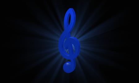 chiave di violino: blu scuro violino 3D chiave Archivio Fotografico