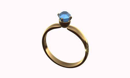 3d ring: 3D ring jewel gold wedding Stock Photo