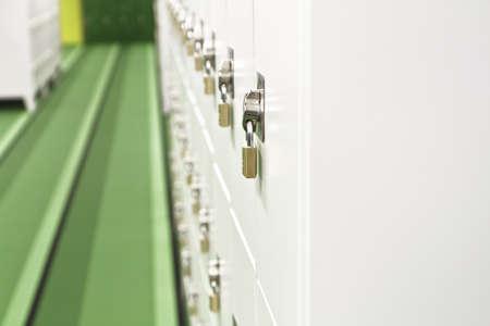 Rows of metal lockers with padlocks